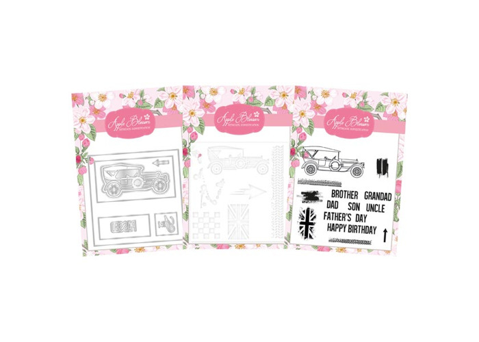 Apple Blossom Car Sentiment Card Die Stamp & Stencil Bundle - 1