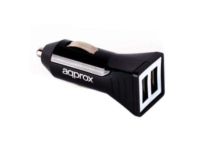 Approx (APPUSBCAR21B) Dual USB Compact Car Adapter, 5V DC/2.4A, Black - 1