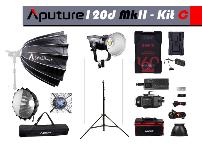 Aputure 120D Mk II LED Light+LightDome II+STAND+BATTERY - 1