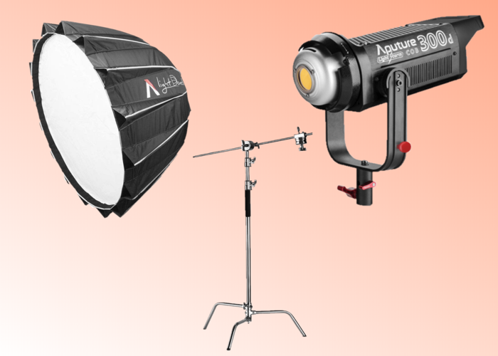 Aputure 300d LED Light with Bowens Mount + Tripod (Combo Stand) + Light Dome II with Honeycomb (Continuous Powerful Key Light, 120d Mark II (2) Upgrade) - 1