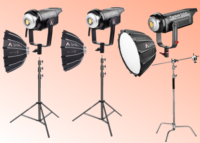 Aputure Bundle - 300d, 120d Mark 2, 120d Mark II (LED Kit with Softboxes and Stands) - 1