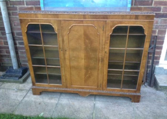 Art Deco Style Walnut Display Cabinet - 2
