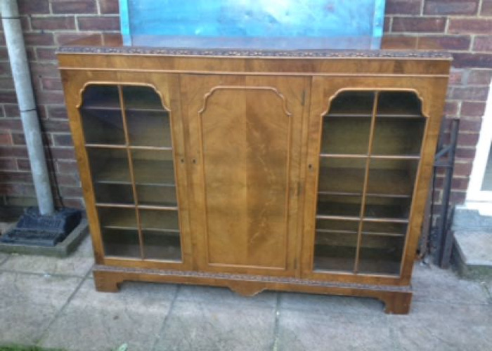 Art Deco Style Walnut Display Cabinet - 1