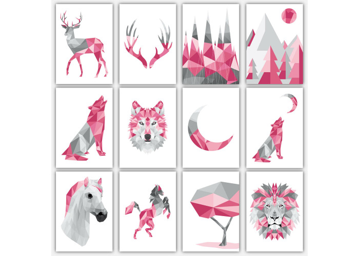 Art PRINT GEOMETRIC ANIMAL FOREST collection PINK & GREY Poster Wall 3 for 2 - 1