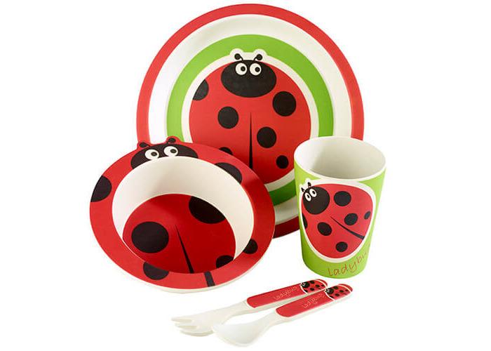 Arthur Price Bambino Ladybird 5 Piece Bamboo Childs Dining Set - 1