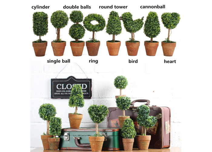 Artificial Potted Plant Plastic Garden Grass Ball Topiary Tree Pot Home Desk Decor - 2