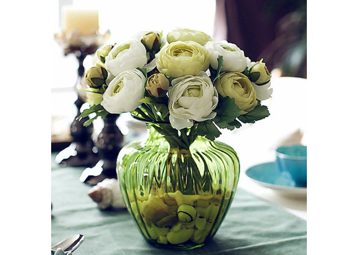 Artificial Silk Flower Peony Bouquet 9 Heads Flowers Home Cafe Decoration Wedding Bridal Party Decor - 1