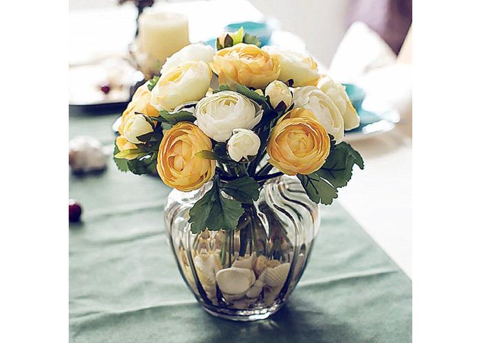Home Decor 5 Head Simulation Peony Silk Flowers Bouquet Bride Wedding Decor Blue Gray Yaguesa Es