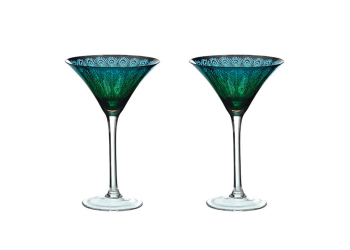 Artland Peacock Set of 2 Martini Glasses - 1