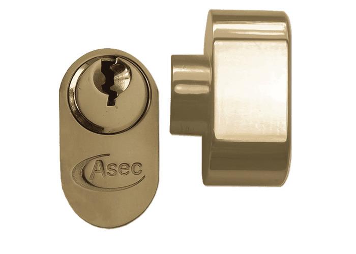 ASEC 5-Pin Oval Key & Turn Cylinder - 70mm 35/T35 (30/10/T30) KD PB - 1