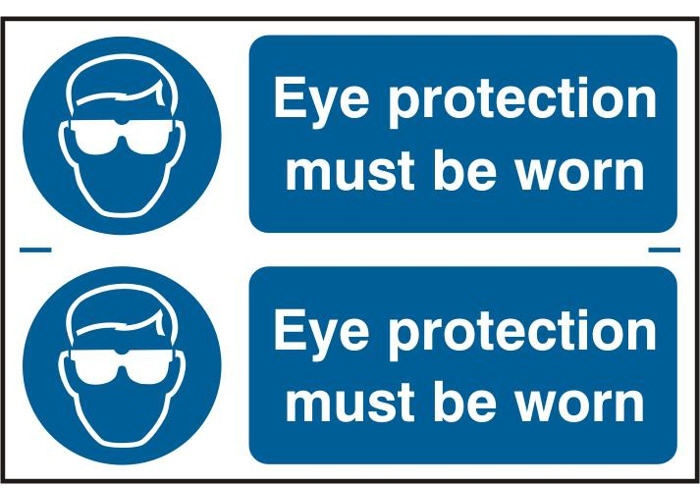 ASEC `Eye Protection Must Be Worn` 300mm x 100mm PVC Self Adhesive Sign - 2 Per Sheet - 1