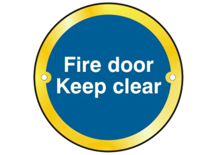 ASEC `Fire door Keep clear` Sign 75mm - Polished Brass - 1