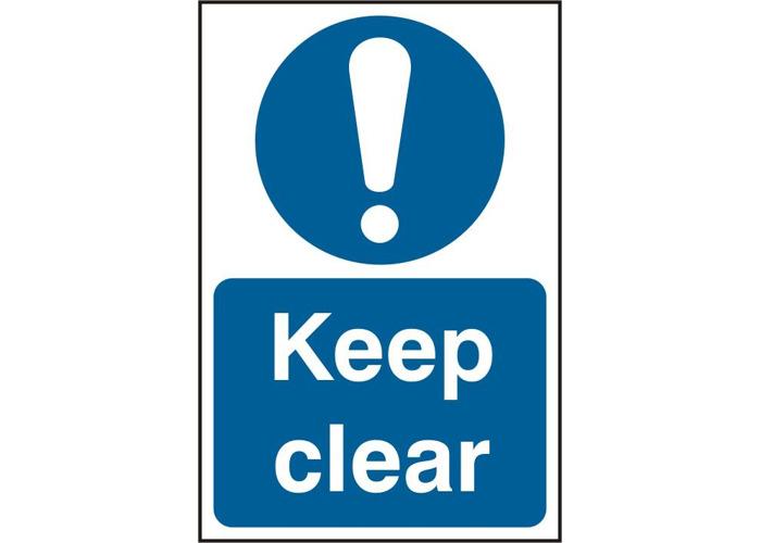 ASEC `Keep Clear` 200mm x 300mm PVC Self Adhesive Sign - 1 Per Sheet - 1