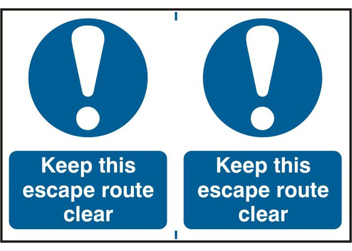 ASEC `Keep This Escape Route Clear` 200mm x 150mm PVC Self Adhesive Sign - 2 Per Sheet - 1