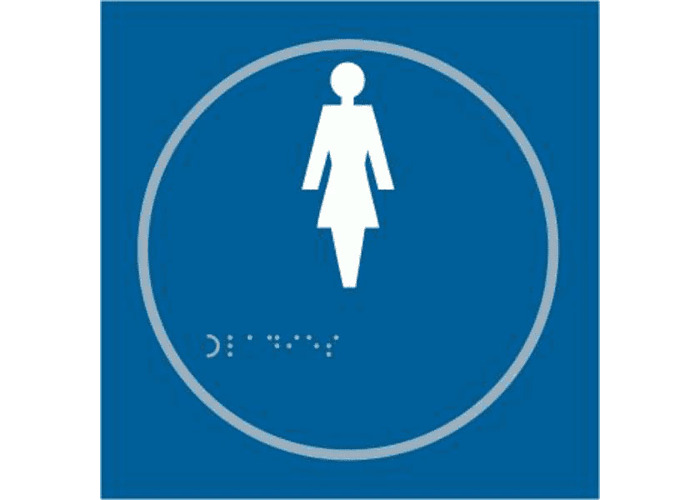 ASEC `Ladies` 150mm x 150mm Taktyle (Braille) Self Adhesive Sign - 1 Per Sheet - 1