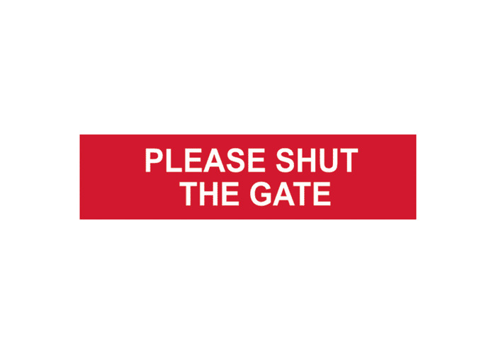 ASEC `Please Shut The Gate` Sign 200mm x 50mm - 200mm x 50mm - 1