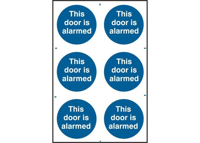 ASEC `This Door Is Alarmed` 200mm x 300mm PVC Self Adhesive Sign - 6 Per Sheet - 1