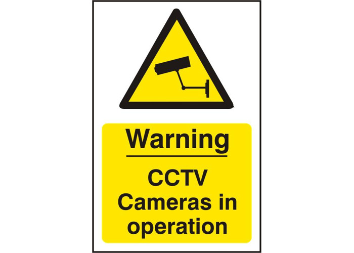 ASEC `Warning CCTV Cameras in Operation` 200mm x 300mm PVC Self Adhesive Sign - 1 Per Sheet - 1