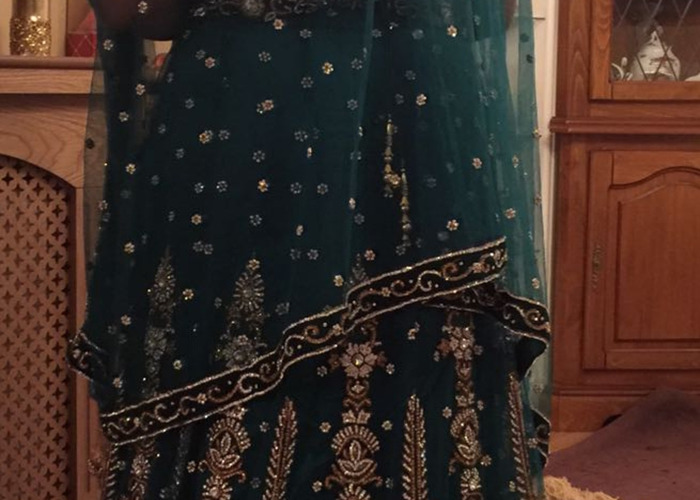 Asian Green Lengha with Jewellery - 2