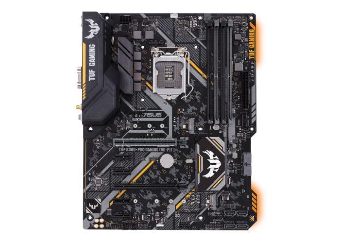 Asus TUF B360-PRO GAMING (WI-FI), Intel B360, 1151, ATX, DDR4, VGA, HDMI, XFire, Wi-Fi, Dual M.2, RGB Lighting - 1