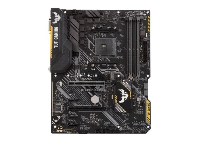 Asus TUF B450-PLUS GAMING, AMD B450, AM4, ATX, 4 DDR4, XFire, DVI, HDMI, M.2, RGB Lighting - 1