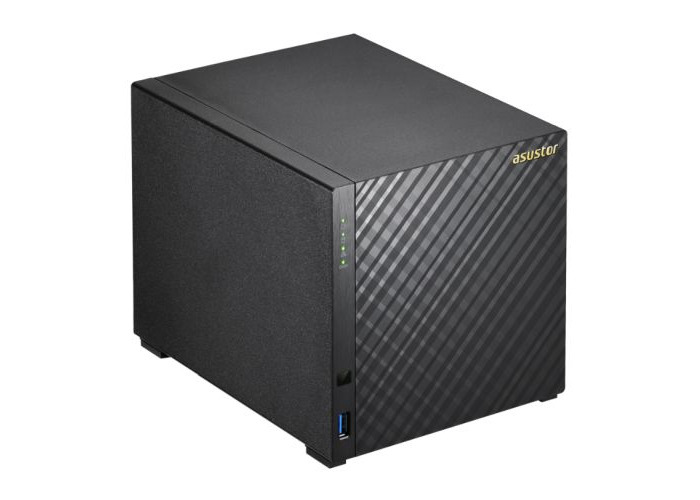ASUSTOR AS3204T V2 4-Bay NAS Enclosure (No Drives), Quad Core CPU, 2GB DDR3L, HDMI, USB3, Dual GB LAN, Diamond-Plate Finish - 1