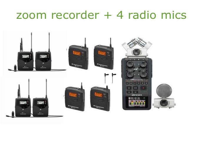 audio zoom h6 recorder + 4 radio mics + lavs (sound, multichannel, interview, mic, microphone, rode, boom, radio) - 1