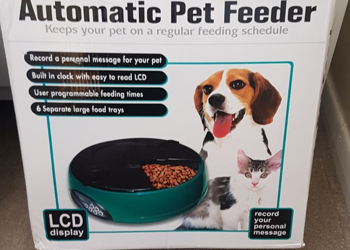 Automatic 6 Day Pet Dog Cat Feeder Holiday Dispenser - 1