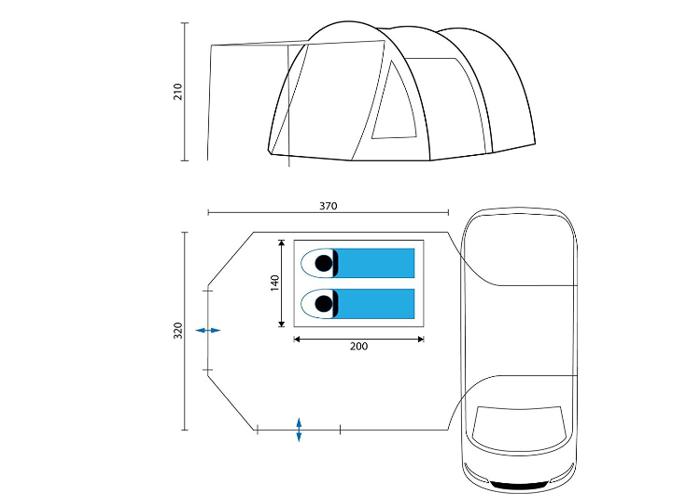 Awning tent for vw camper transporter Bongo  - 1