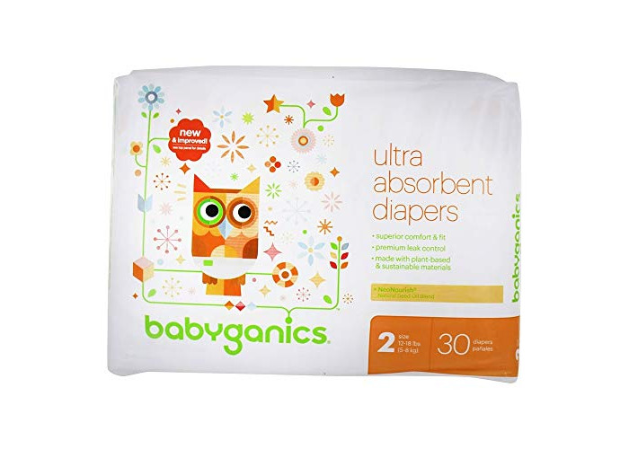BabyGanics - Ultra Absorbent Diapers Stage 2 (12-18 lbs) - 30 Diaper(s) - 1