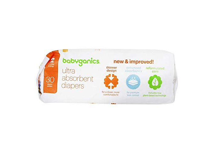 BabyGanics - Ultra Absorbent Diapers Stage 2 (12-18 lbs) - 30 Diaper(s) - 2