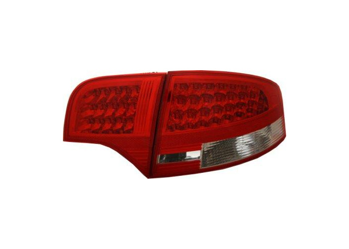 Back Rear Tail Lights For Audi A4 B7 Saloon 04-08 With LED In Red-Clear - 1