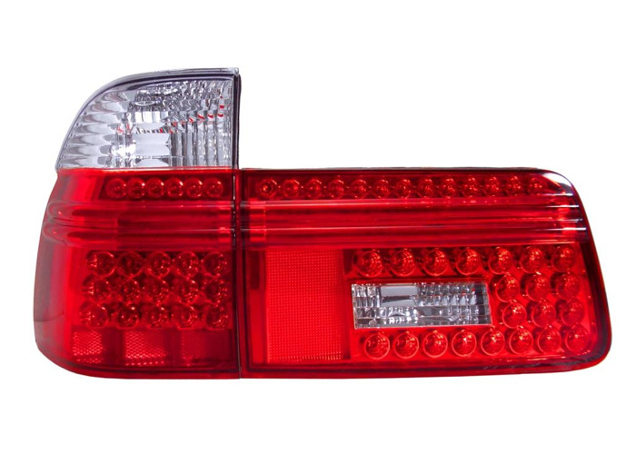 Back Rear Tail Lights Lamps For BMW E39 Only Touring 97-04 LED Red-Clear - 1