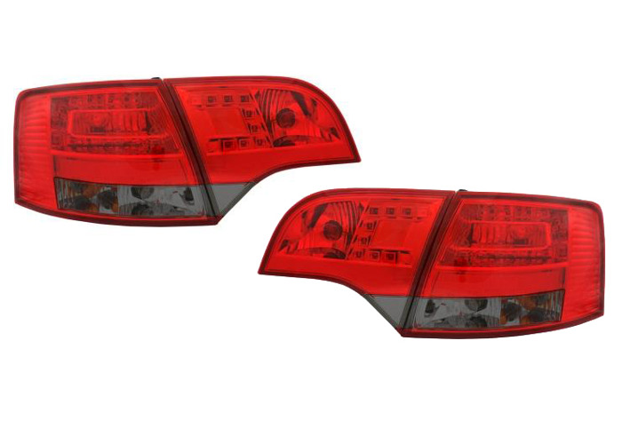 Back Rear Tail Lights Lamps LED Red-Black For Audi A4 B7 Avant 11/04-03/08 - 1