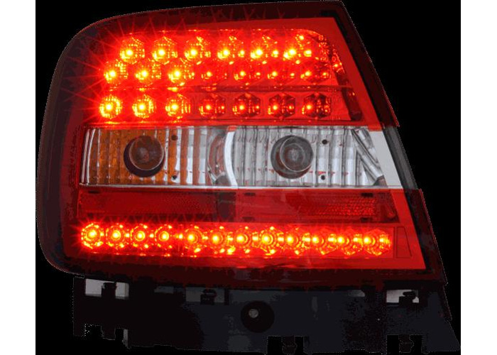Back Rear Tail Lights Lamps Red-Clear LED Pair For Audi A4 B5 11/94-9/00 - 2