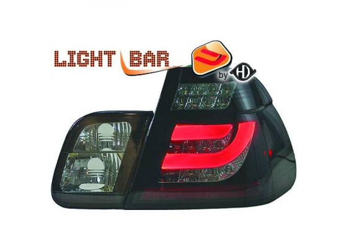 Back Rear Tail Lights Pair Clear Smoke Black LED BMW 3 Series E46 Saloon 01-05 - 1