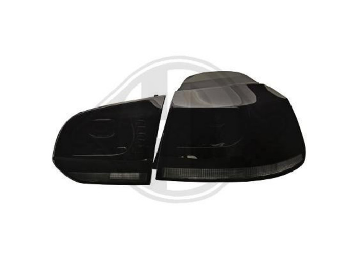 Back Rear Tail Lights Pair Set Black For VW Golf VI Hatchback 08-12 - 1