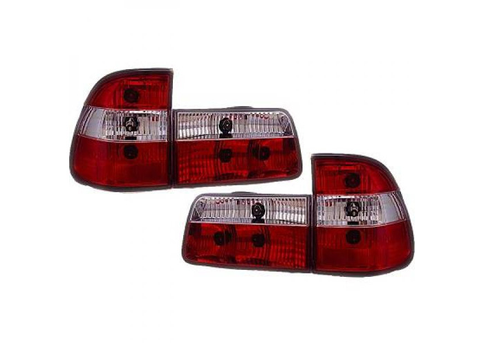 Back Rear Tail Lights Pair Set Clear Red White For BMW 5 Series E39 95-00 - 1