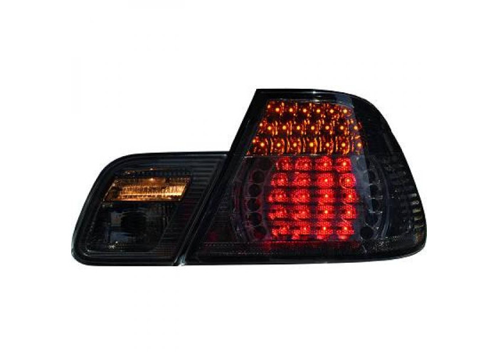Back Rear Tail Lights Pair Set LED Clear Black For BMW E46 Saloon 98-01 - 2