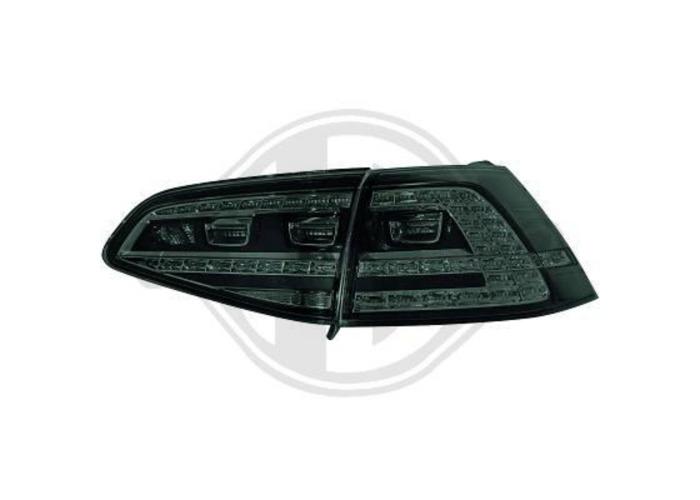 Back Rear Tail Lights Pair Set LED Clear Black For VW Golf MK7 12-On - 1