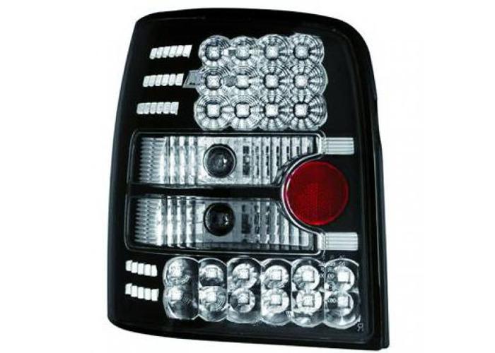 Back Rear Tail Lights Pair Set LED Clear Black For VW Passat B5 96-00 - 2
