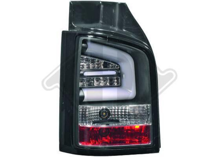 Back Rear Tail Lights Pair Set LED Clear Black For VW T5 Multivan 09-15 tailgate - 1