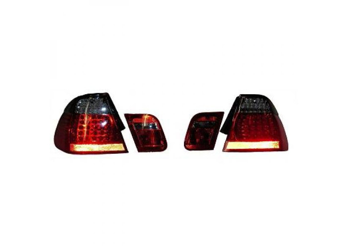 Back Rear Tail Lights Pair Set LED Clear Red Black For BMW E46 Saloon 01-05 - 2