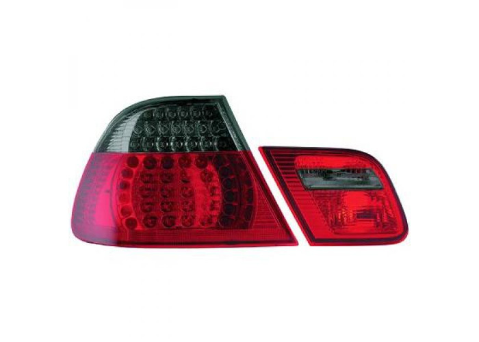Back Rear Tail Lights Pair Set LED Clear Red Black For BMW E46 Saloon 98-01 - 1