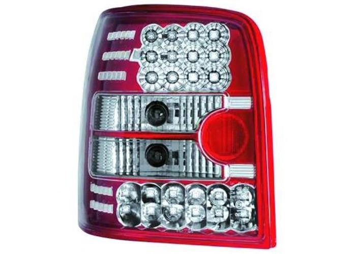 Back Rear Tail Lights Pair Set LED Clear Red For VW Passat B5 96-00 estate - 2