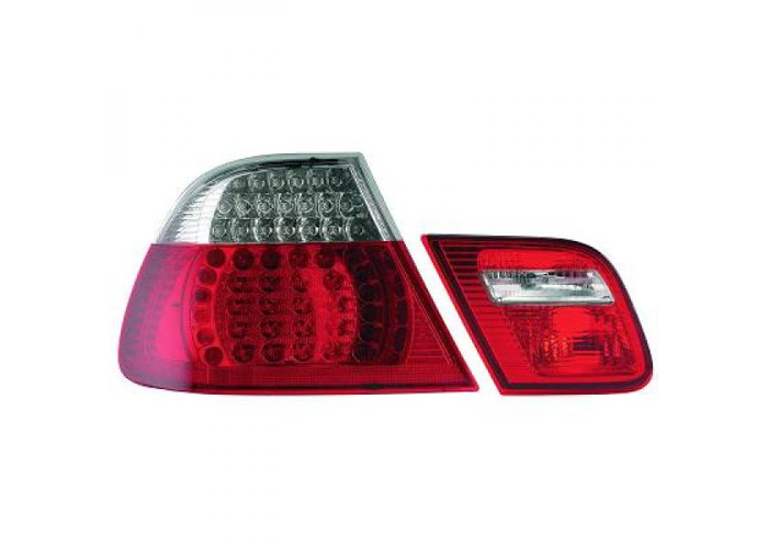Back Rear Tail Lights Pair Set LED Clear Red White For BMW E46 Coupe 99-03 - 1