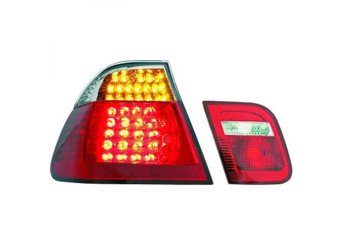Back Rear Tail Lights Pair Set LED Clear Red White For BMW E46 Saloon 01-05 - 1