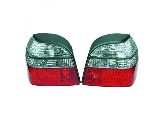 Back Rear Tail Lights Pair Set LED Clear Red White For VW Golf III 91-97 - 1
