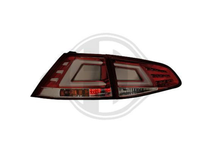 Back Rear Tail Lights Pair Set LED Clear Smoke Red For VW Golf VII 12-On - 2