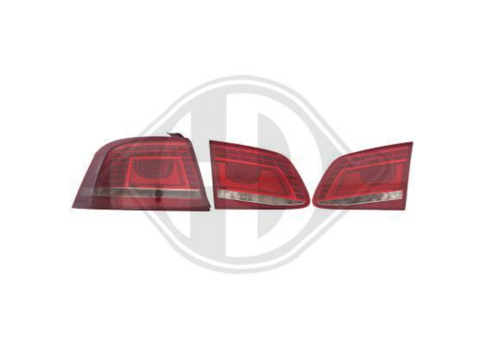 Back Rear Tail Lights Pair Set LED Clear Smoke Red For VW Passat 10-On - 1